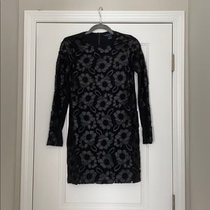 French connection black long sleeve mini dress